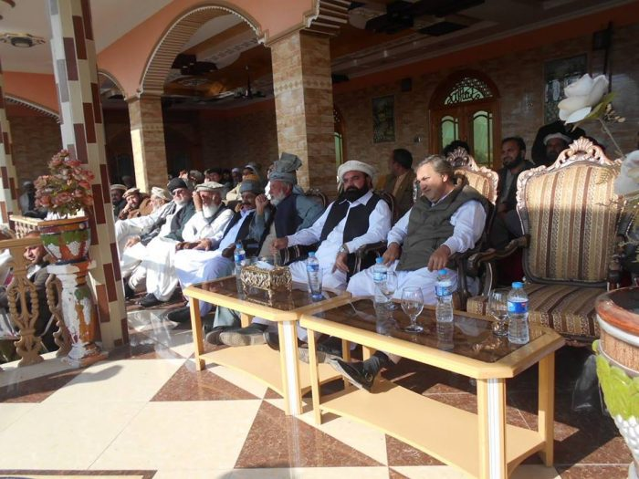 The leaders of FATA Grand Alliance sitting on stage during a public gathering at Bajaur Agency. Photo by Nabi Jan Orakzai