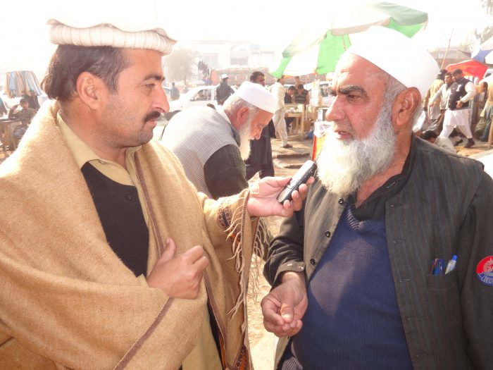 A tribesman from Khyber Agency talking to TNN correspondent Gohar Wazir at Karkhanu market Peshawar.