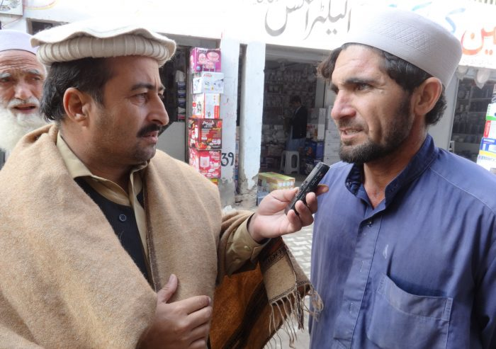 A tribesman sharing his views with TNN on FATA reforms at Karkhanu market Peshawar.