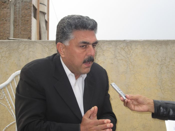 Advocate Ajaz Mohmand taking to TNN. Photo by Gul Muhammad Mohmand