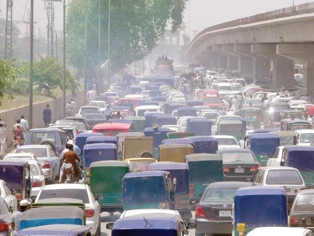 BRT causes huge traffic jam in Peshawar.