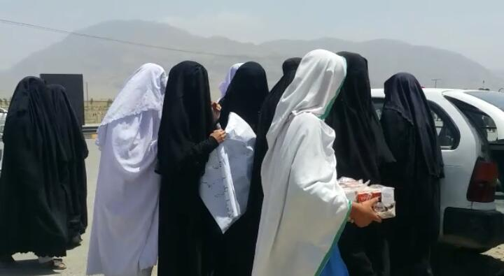 Female students stage protest in Wana.
