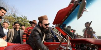 District Nazim Peshawar Arbab Asim Khan inaugurates Vintage Car show at Islamia College Peshawar.