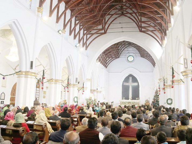 A Christmas Mass underway at Saint John's Cathedral in Peshawar.