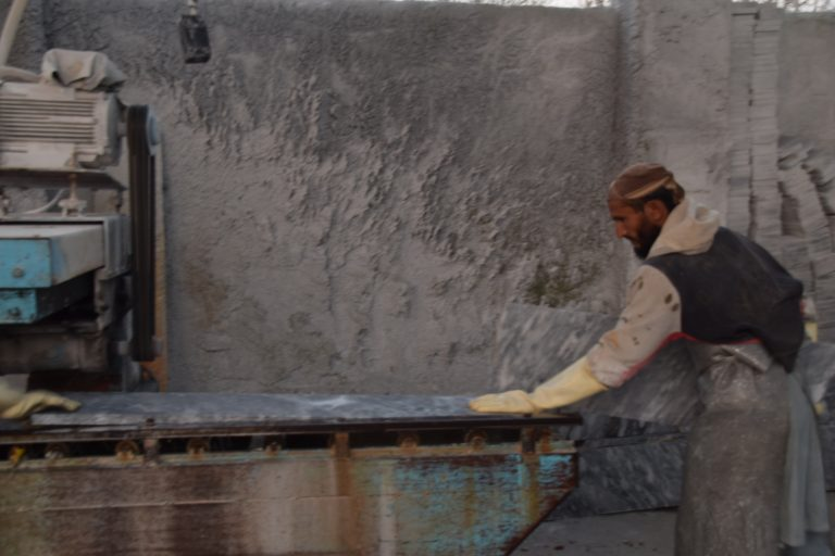 A worker ix working at marble factory in Buner. Photo: Usman Khan