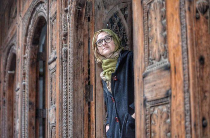 Italian Tourist at the historical Havaili of Mohallah Sethian, Peshawar.