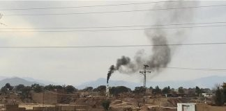Smoke Emits from brick kiln in Sarband, Peshawar.