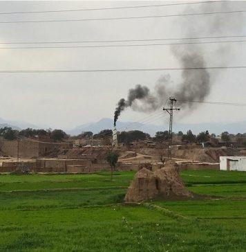 Smoke Emits from brick kiln in Sarband, Peshawar.