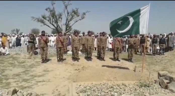 Amry man martyred in cross border clash laid to rest in Lakki Marwat