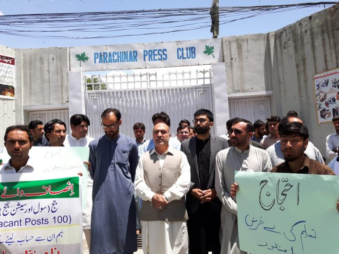 Protests staged against illegal appointments in Parachinar