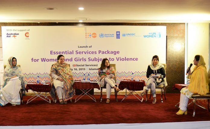 Panelists at the launch of essential services package for social services to women and girls subject to violence by UN Women.
