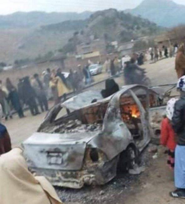 Anti-merger forces in Darra Adam Khel set fire to a vehicle.